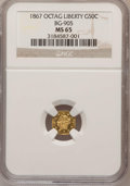 California Fractional Gold: , 1867 50C Liberty Octagonal 50 Cents, BG-905, Low R.5, MS65 NGC. NGCCensus: (2/3). PCGS Population (8/6). (#10763)...
