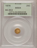 California Fractional Gold: , 1876 25C Indian Round 25 Cents, BG-853, Low R.5, MS64 PCGS. PCGSPopulation (12/3). NGC Census: (2/3). (#10714)...