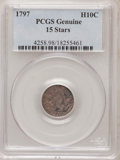 Early Half Dimes, 1797 H10C 15 Stars--Damage--Genuine PCGS. This PCGS number endingin 98 suggests Damage as the reason, or perhaps one of th...