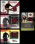 Football Cards:Singles (1970-Now), 2003-06 Leaf Series Jim Thorpe Jersey Swatch Card Quartet (4)....