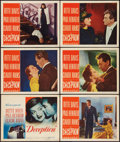 "Movie Posters:Crime, Deception (Warner Brothers, 1946). Title Lobby Card (11"" X 14"") andLobby Cards (5) (11"" X 14""). Crime.. ... (Total: 6 Items)"