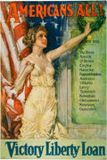 "Military & Patriotic:WWI, [WWI Liberty Loan Poster]. Howard Chandler Christy ""AMERICANS ALL -VICTORY LIBERTY LOAN""...."