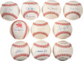 Baseball Collectibles:Balls, Baseball Stars Single Signed Baseballs Lot of 10....