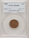 Indian Cents: , 1876 1C MS63 Brown PCGS. PCGS Population (29/22). NGC Census:(68/162). Mintage: 7,944,000. Numismedia Wsl. Price for probl...