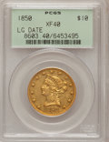 Liberty Eagles: , 1850 $10 Large Date XF40 PCGS. PCGS Population (30/128). NGCCensus: (44/312). Mintage: 291,451. Numismedia Wsl. Price for ...