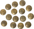 Military & Patriotic:Civil War, Group of Fifteen Coat Size Confederate Infantry Officer's Script I Buttons - Isaacs Campbell & Co.... (Total: 15 Items)