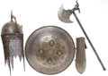 Military & Patriotic:Foreign Wars, Armor: Antique Indo-Persian Islamic Steel Helmet Kulah-Khud, Shield Dhal Separ, Ceremonial Battle Axe, and Bazuband, A Mat... (Total: 4 Item)