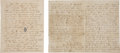 Autographs:Military Figures, Civil War: Two Letters from the 9th Texas Cavalry Following the Battle of Corinth... (Total: 2 Items)