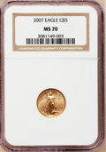 Modern Bullion Coins, 2007 $5 Tenth-Ounce Gold Eagle MS70 NGC. NGC Census: (0). PCGSPopulation (21). Numismedia Wsl. Price for problem free NGC...