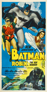 "The New Adventures of Batman and Robin (Columbia, 1949). Three Sheet (41"" X 81"")"