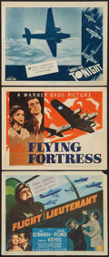 """Movie Posters:War, Flight Lieutenant Lot (Columbia, 1942). Title Lobby Card and LobbyCards (2) (11"""" X 14""""). War.. ... (Total: 3 Items)"""