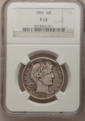 Barber Half Dollars: , 1894 50C Fine 12 NGC. NGC Census: (0/149). PCGS Population (4/195).Mintage: 1,148,972. Numismedia Wsl. Price for problem f...