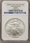 Modern Bullion Coins, 2008-W $1 Silver Eagle Rev of 07 Early Releases MS69 NGC....