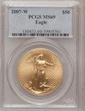 Modern Bullion Coins, 2007-W $50 One-Ounce Gold Eagle MS69 PCGS. PCGS Population(448/177). NGC Census: (0/0). Numismedia Wsl. Price for problem...