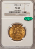 Liberty Eagles, 1906 $10 MS63 NGC. CAC. NGC Census: (100/39). PCGS Population(133/35). Mintage: 165,497. Numismedia Wsl. Price for problem...