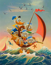 Carl Barks Red Sails in the Sunset Donald Duck Painting Original Art (1974)