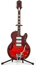 Musical Instruments:Electric Guitars, 1960's Silvertone H1454 Cherryburst Semi-Hollow Body ElectricGuitar #757H1454....
