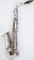 Musical Instruments:Horns & Wind Instruments, Circa 1928 Buescher True-Tone Low Pitch Silver Alto Saxophone #225287....