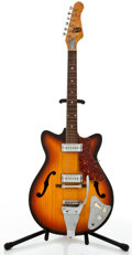 Musical Instruments:Electric Guitars, 1960-70's Sorrento 2 Pickups Sunburst Semi-Hollow Body Electric Guitar #N/A....