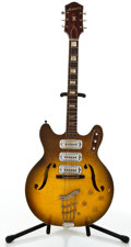 Musical Instruments:Electric Guitars, 1960's Harmony H75 Sunburst Semi-Hollow Body Electric Guitar #1124....
