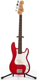 Musical Instruments:Bass Guitars, 1980's Squier II By Fender Precision Red Electric Bass Guitar #N/A....