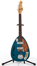 Musical Instruments:Electric Guitars, 1960's Crestwood Tear Drop Blue Metallic Semi-Hollow Body ElectricGuitar, #N/A....