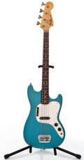 Musical Instruments:Electric Guitars, Vintage Fender Musicmaster Aqua Electric Bass Guitar, #8904267....