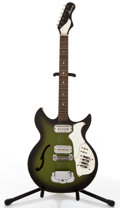 Musical Instruments:Electric Guitars, 1970's Harmony H62G Green Sunburst Semi-Hollow Body Electric Guitar #N/A....