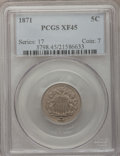 Shield Nickels: , 1871 5C XF45 PCGS. PCGS Population (4/106). NGC Census: (2/69).Mintage: 561,000. Numismedia Wsl. Price for problem free NG...