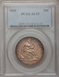 Seated Half Dollars, 1860 50C AU53 PCGS. PCGS Population (5/70). NGC Census: (3/46).Mintage: 302,700. Numismedia Wsl. Price for problem free NG...