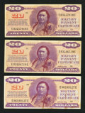 Military Payment Certificates:Series 692, Series 692 $20 Three Examples Very Fine+.. ... (Total: 3 notes)
