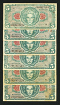 Military Payment Certificates:Series 641, Series 641 $5 Six Examples Very Fine+.. ... (Total: 6 notes)