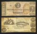 Confederate Notes:Group Lots, Two Confederate Notes. ... (Total: 2 notes)