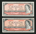 Canadian Currency: , BC-38b $2 Modified Portrait 1954. BC-38d $2 Modified Portrait1954.. ... (Total: 2 notes)