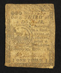 Colonial Notes:Continental Congress Issues, Continental Currency February 17, 1776 $1/3 Good-Very Good.. ...