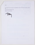 Books:Signed Editions, Ray Bradbury. Typed Letter Signed, First Page on Author's Letterhead. Two pages, stapled and dated 2002. Letter from Bradbur...