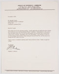 Books:Signed Editions, Stephen Ambrose. Typed Letter Signed and on Ambrose's Letterhead. Single page and dated 2001. Letter from Ambrose to Barnaby...