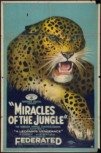 "Miracles of the Jungle (Warner Brothers, 1921). One Sheet (26"" X 39.5"") Chapter 4 -- ""A Leopard's Vengean..."