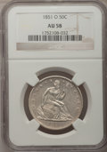 Seated Half Dollars, 1851-O 50C AU58 NGC. NGC Census: (6/20). PCGS Population (5/28).Mintage: 402,000. Numismedia Wsl. Price for problem free N...