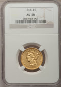 Liberty Half Eagles: , 1844 $5 AU58 NGC. NGC Census: (88/34). PCGS Population (13/26).Mintage: 340,330. Numismedia Wsl. Price for problem free NG...