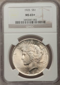 Peace Dollars, 1925 $1 MS65+ NGC. NGC Census: (8852/1456). PCGS Population(6556/1496). Mintage: 10,198,000. Numismedia Wsl. Price for pro...