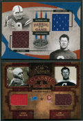 Football Cards:Singles (1970-Now), 2004 Donruss & Leaf Dual Swatch Card Pair (2) - With Thorpe,Unitas and Walker....