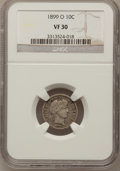 Barber Dimes: , 1899-O 10C VF30 NGC. NGC Census: (3/64). PCGS Population (3/80).Mintage: 2,650,000. Numismedia Wsl. Price for problem free...