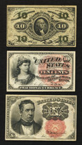 Fractional Currency:Group Lots, Third Issue, Fourth Issue, and Fifth Issue 10¢ Fractionals.. ...(Total: 3 notes)