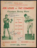 Boxing Collectibles:Autographs, Joe Louis and Others Multi Signed Program....