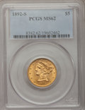 Liberty Half Eagles: , 1892-S $5 MS62 PCGS. PCGS Population (52/30). NGC Census: (58/9).Mintage: 298,400. Numismedia Wsl. Price for problem free ...