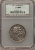 Coins of Hawaii, 1883 50C Hawaii Half Dollar--Genuine--NCS. Mintage: 700,000.(#10991)...