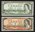 Canadian Currency: , BC-29b $1 Devil's Face Portrait 1954. BC-30b $2 Devil's FacePortrait 1954.. ... (Total: 2 notes)