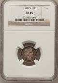 Barber Dimes: , 1906-S 10C XF45 NGC. NGC Census: (3/97). PCGS Population (2/102).Mintage: 3,136,640. Numismedia Wsl. Price for problem fre...