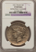 Peace Dollars, 1921 $1 --Improperly Cleaned--NGC Details. VF. NGC Census:(127/10251). PCGS Population (161/12393). Mintage: 1,006,473.Num...